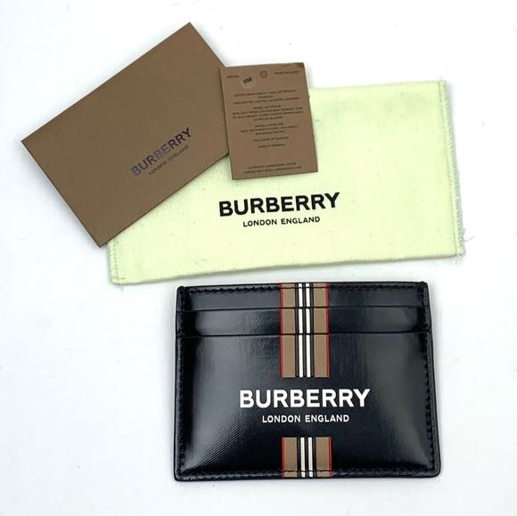 Burberry Sandon Checkered Leather Card Holder